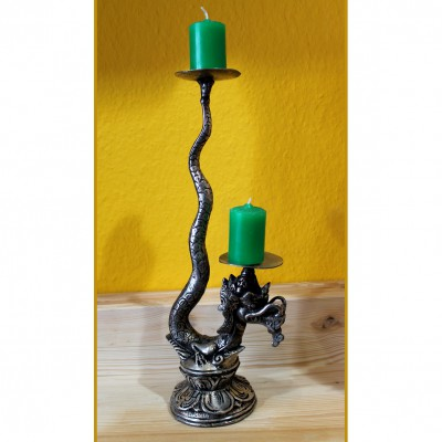 Candle holder Dragon, nickel silver