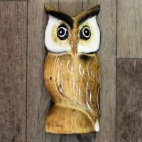 Eule, Holz Figur, 17,5 cm