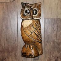 Eule, Holz Figur, 24 cm